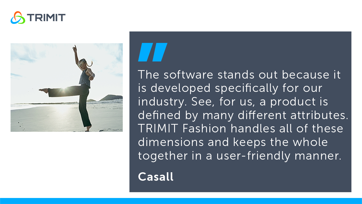 Sportswear company Casall about fashion ERP software TRIMIT